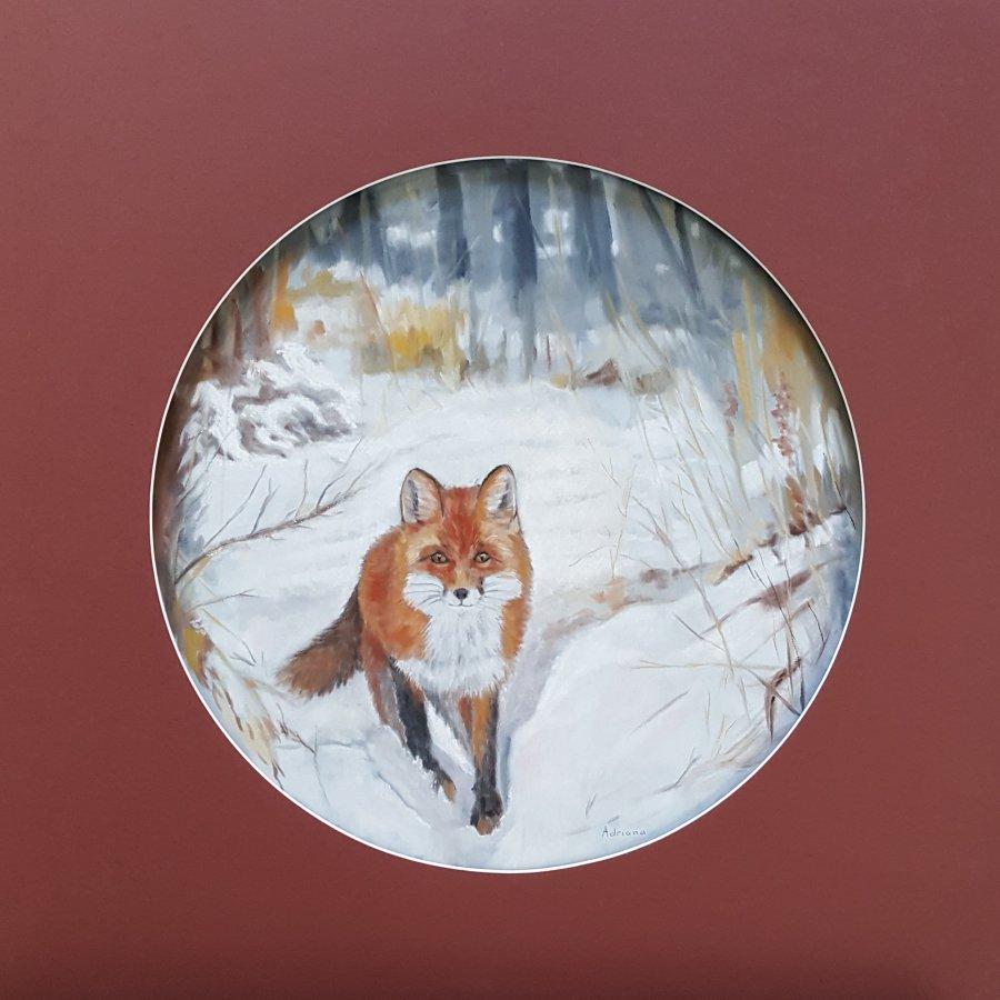 Vos in de sneeuw, pastel op papier, 50cm
