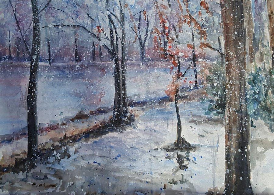 Sneeuw, aquarel op papier, 60x70cm