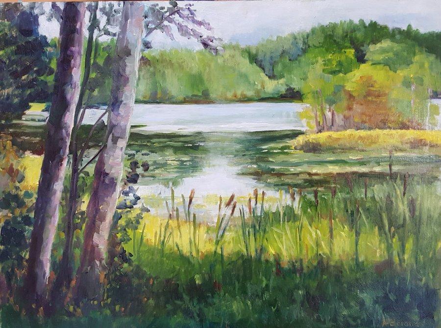 Lake lille grasken, olieverf op paneel, 30x40cm