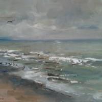 Beach, olieverf op paneel, 40x30cm