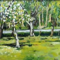 Bloeiende appelboom, olieverf op paneel, 30x30cm
