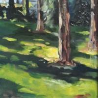 Dennenbomen, olieverf op paneel, 24x30cm