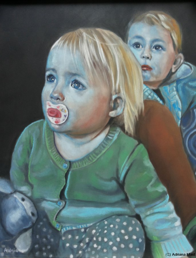 Watching it, pastel op paneel, 40x50cm