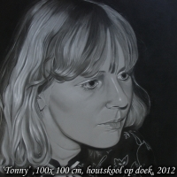 Tonny, houtskool op doek, 100x100cm
