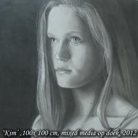 Kim, mixed media op doek, 100x100cm