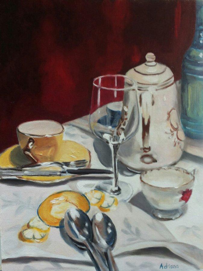 Aan tafel, olieverf op paneel, 30x40cm