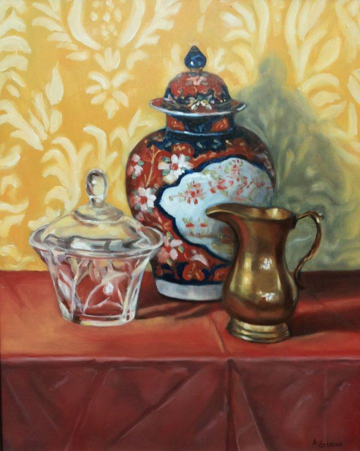 Chinese vaas, olieverf op paneel, 40x50cm