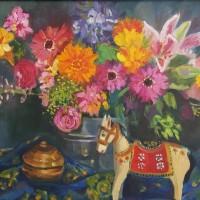 Birthdayflowers, olieverf op paneel, 50x60cm