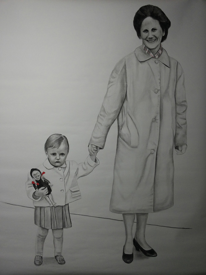 Ruth en Adriana, houtskool-op-papier 180x120cm